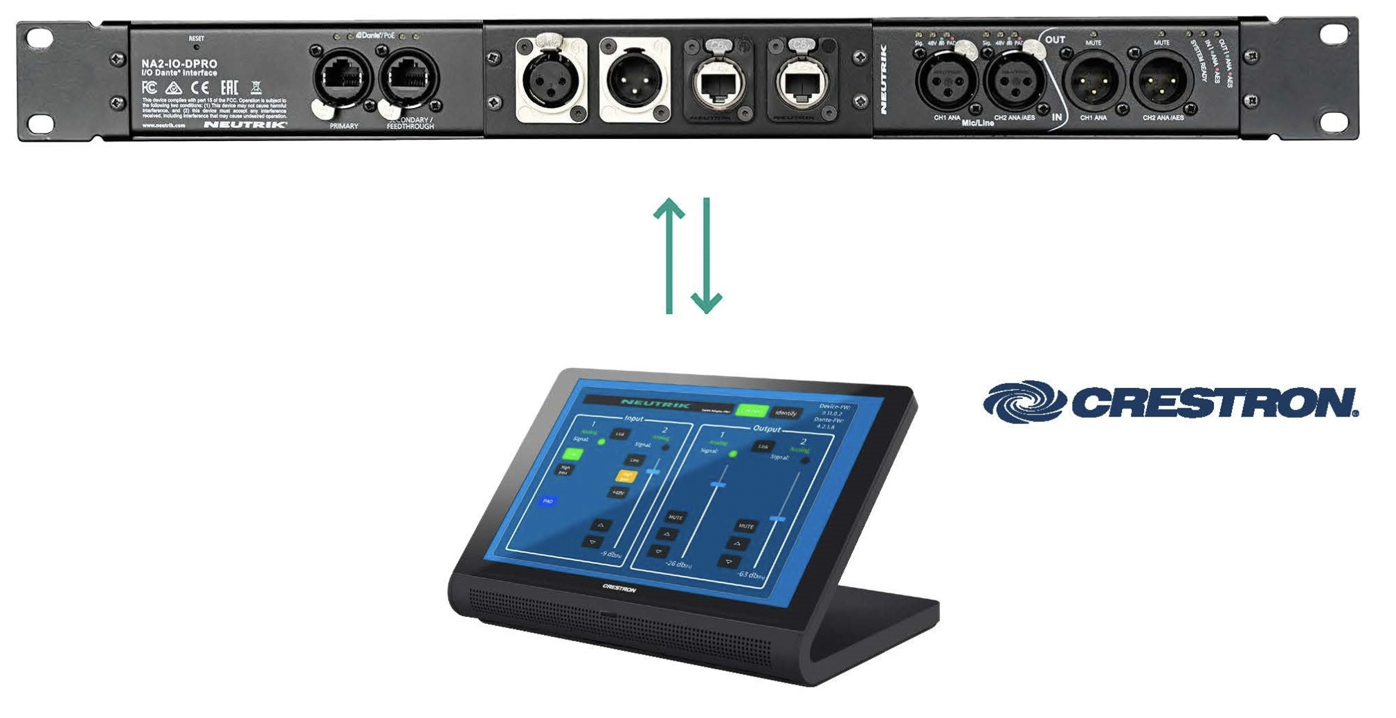 Neutrik now features full integration with Crestron control products to remote control the NA2-IO-DPRO